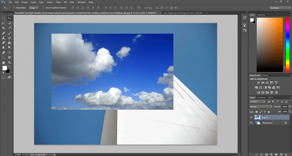 replacing sky in Photoshop